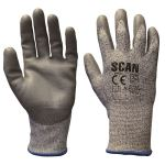 Grey PU Coated Gloves | Cut resistant | SCAN | SCAGLOCUT5